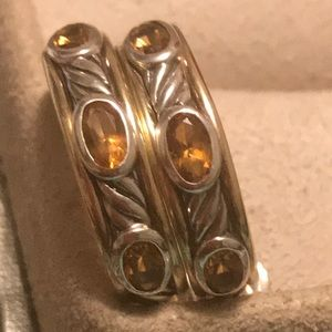 Authentic David Yurman Earring Citrin w/Gold & SS